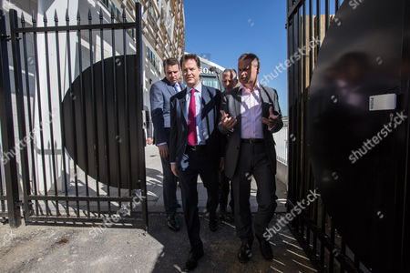 Stock Image of The Deputy Prime Minister and Leader of the Liberal Democrats Nick Clegg visited the Ageas Bowl cricket ground near Eastleigh today with the Lib Dem PPC for Eastleigh Mike Thornton.