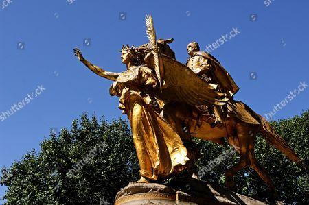 Saint Gaudens Augustus Monument, Monumento al generale William Tecumseh Sherman, detail, in Central Park, New York City, USA
