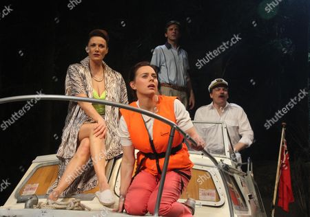 Sarah Parish (June with swimsuit), Jill Halfpenny (Emma with life jacket) Jason Hughes (Alistair with blue top) and Peter Forbes (Keith with captain's hat).