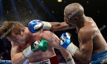 Editorial image of WbC and WBA Super Welterweight title bout, Floyd Mayweather Jr. Vs Saul Alvarez, MGM Grand Garden Arena, Las Vegas, America - 14 Sep 2013