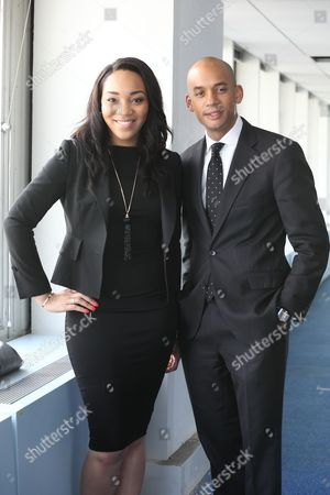 Chuka Umunna, shadow business secretary visits No 1 Croydon formerly the NLA Tower to meet with entreprenuers, with Apprentice Runner Up Croydon's Bianca Miller.