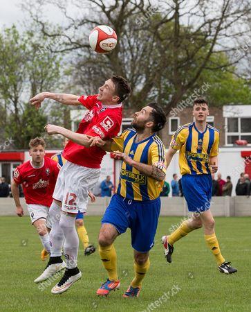 Stock Image of Matt Chadwick heads the ball