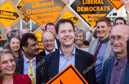 The Deputy Prime Minister and Leader of the Liberal Democrats Nick Clegg campaigning in Bath with retiring MP Don Foster, and Lib Dem PPC for North East Somerset Wera Hobhouse (far left)
