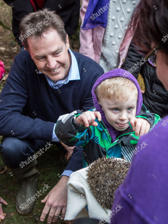 The Deputy Prime Minister and leader of the Liberal Democrats Nick Clegg visited Brueton Park nature reserve with Lib Dem PPC for Solihull, Lorely Burt to learn about Hedgehog conservation and to talk about the 'five green laws' in the Lib Dem Manifesto.