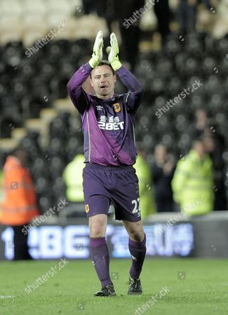 Goalkeeper Steve Harper of Hull City applauds the fans at the end of the game after a clean sheet