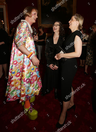 Sophie Countess of Wessex with Grayson Perry (left) and Professor Frances Corner, Head of London College of Fashion and Pro Vice-Chancellor of University of the Arts London