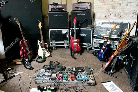 London United Kingdom - June 17: A Selection Of Guitars And Effects Pedals Belonging To Joshua Hayward Guitarist With English Indie Rock Group The Horrors Photographed In London On June 17