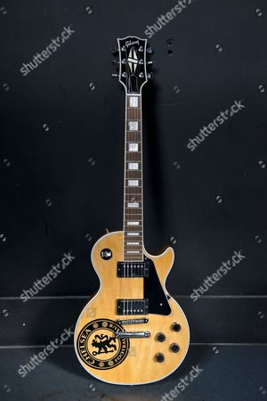 London United Kingdom - July 31: A 1976 Gibson Les Paul Custom Electric Guitar Belonging To Lower Than Atlantis Guitarist Ben Sansom