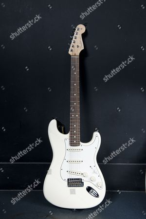 London United Kingdom - July 31: A Fender Stratocaster Electric Guitar Belonging To Lower Than Atlantis Guitarist Ben Sansom