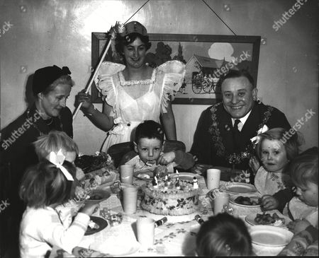 Editorial photo of Mayor Of Lewisham Councillor H. M. Pinnell & His Wife At Christmas Party At Ladywell Residential Nursery. With The Mayoress Are Gerrard Kealey (l) And Susan Russell.