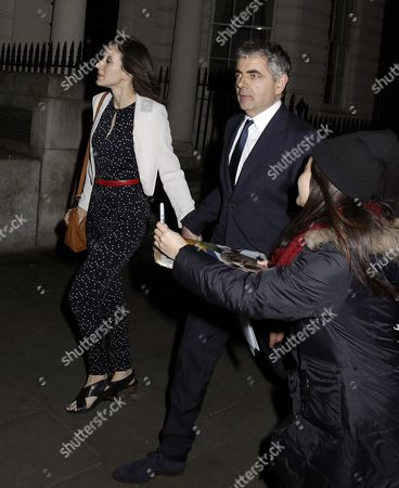 Louise Ford and Rowan Atkinson