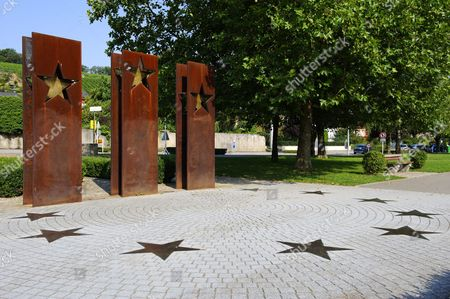 Memorial, nearby the Schengen Agreement was signed on the ship Princess Marie-Astrid in 1985, Schengen, Luxembourg, Europe