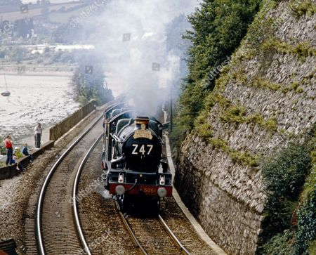 """Preserved GWR loco """"Earl Bathurst"""" near Dawlish going from Penzance to Bristol to mark the 150th anniversary of the  Great Western Railway."""