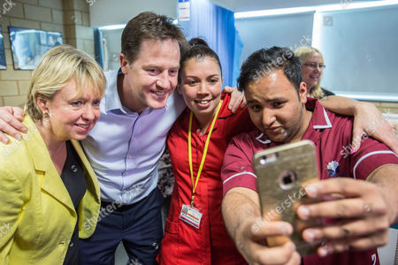 The Deputy Prime Minister and Leader of the Liberal Democrats Nick Clegg visited Solihull College with the Lib Dem PPC Lorely Burt (left) where they visited the Health and Social Care Specialist Suite and took selfies with students