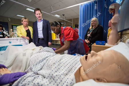 Stock Photo of The Deputy Prime Minister and Leader of the Liberal Democrats Nick Clegg visited Solihull College with the Lib Dem PPC Lorely Burt where they visited the Health and Social Care Specialist Suite