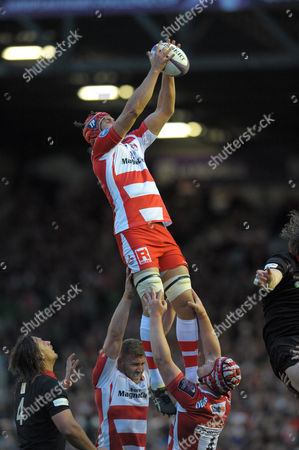 Gloucester's Tom Palmer rises for a lineout ball and wins it - Rugby Union - ERC Cup final - Edinburgh Rugby v Gloucester Rugby - 01/05/15 - at Twickenham Stoop Stadium, London, GB - Photo Credit - Tom Dwyer/Seconds Left Images.