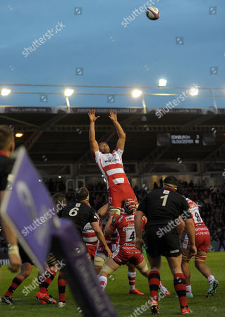 Gloucester's Tom Palmer rises for a lineout ball against a general view of the stadium - Rugby Union - ERC Cup final - Edinburgh Rugby v Gloucester Rugby - 01/05/15 - at Twickenham Stoop Stadium, London, GB - Photo Credit - Tom Dwyer/Seconds Left Images.