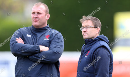 Mike Friday London Scottish Director of Rugby (R) with Tim Payne (L) 