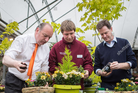Stock Photo of The Deputy Prime Minister and Leader of the Liberal Democrats Nick Clegg visited Paradise Park in Newhaven with the Lib Dem PPC for Lewes Norman Baker (left) where they potted plants with apprentices.