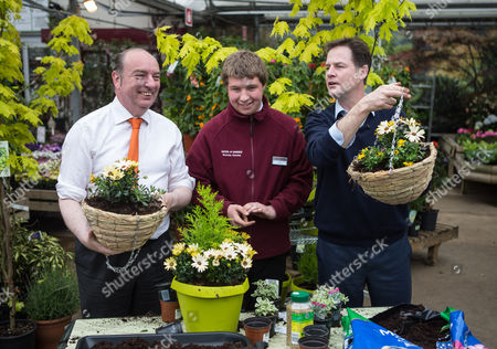 The Deputy Prime Minister and Leader of the Liberal Democrats Nick Clegg visited Paradise Park in Newhaven with the Lib Dem PPC for Lewes Norman Baker (left) where they potted plants with apprentices.