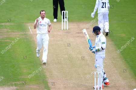 Graham Wagg of Glamorgan celebrates the wicket of Ben Cotton.
