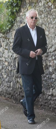 Editorial image of Brian Aris Arrives At Peaches Geldof's Funeral At St Mary Magdalene And St Lawrence Church Davington. Picture Murray Sanders.