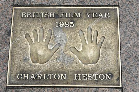 Hand print of Charlton Heston, Leicester Square, London, England, United Kingdom, Europe