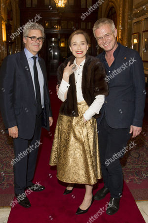Matthew Byam Shaw (Producer), Kristin Scott Thomas (The Queen) and Stephen Daldry (Director) attend the after party on Press Night for The Audience at One Whitehall Place, London