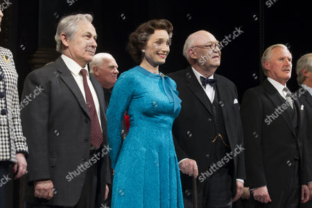 Nicholas Woodeson (Harold Wilson), Kristin Scott Thomas (The Queen), David Calder (Winston Churchill) and David Robb (Anthony Eden) during the curtain call on press night at the Apollo Theatre