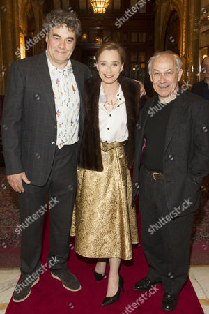 Gordon Kennedy (Gordon Brown), Kristin Scott Thomas (The Queen) and Nicholas Woodeson (Harold Wilson) attend the after party on Press Night for The Audience at One Whitehall Place, London