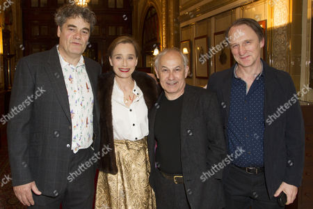 Gordon Kennedy (Gordon Brown), Kristin Scott Thomas (The Queen), Nicholas Woodeson (Harold Wilson) and Michael Gould (John Major) attend the after party on Press Night for The Audience at One Whitehall Place, London