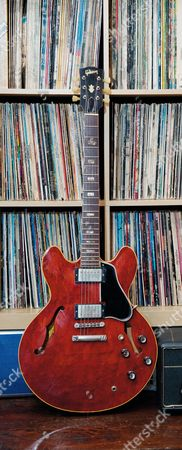 Buckinghamshire United Kingdom - May 22: A Vintage 1965 Gibson Es-335 Electric Guitar Belonging To English Rock Musician Bernie Marsden On May 22