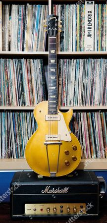 Buckinghamshire United Kingdom - May 22: A Vintage 1952 Gibson Es-295 Electric Guitar Belonging To English Rock Musician Bernie Marsden On May 22
