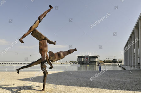 Rhizome II sculpture by Antony Gormley in the Parque das Nacoes park, site of the Expo 98, Lisbon, Portugal, Europe