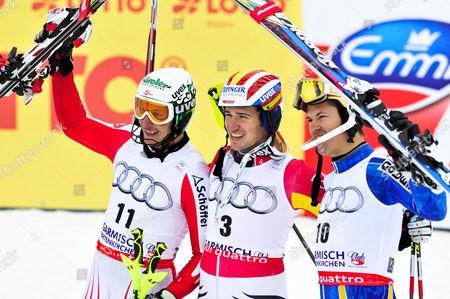Manfred Pranger, Felix Neureuther, Andre Myhrer, award ceremony, Men's FIS Slalom, Gudiberg, Gamisch-Partenkirchen, Bavaria, Germany, Europe