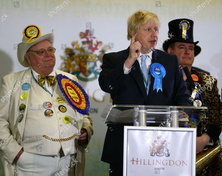 Howling Laud Hope of the The Official Monster Raving Loony Party, Boris Johnson and Lord Toby Jug the candidate for The Eccentric Party of Great Britain
