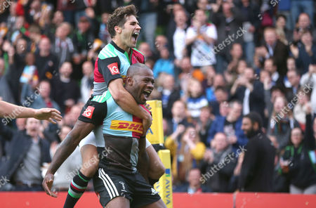 Harlequins' Ugo Monye celebrates  with Harlequins' Ollie Lindsay-Hague after he scores the first try during his final home game before retirement