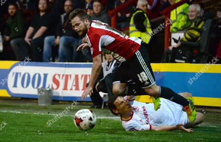 Dean Whitehead of Middlesbrough was booked for this foul on Alan Judge of Brentford