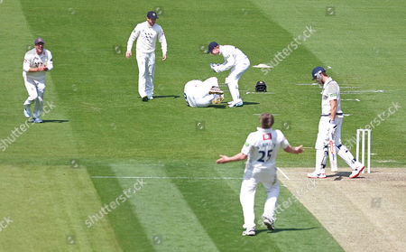 Middlesex Nick Compton is caught by Sussex Michael Yardy off the bowling of Ollie Robinson during the LV County Championship Div 1 match between Sussex County Cricket Club and Middlesex County Cricket Club at the BrightonandHoveJobs.com County Ground, Hove