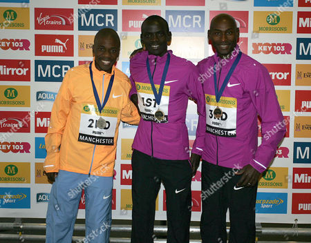 Stephen Mokoka (2nd), Stephen Sambu (1st) and Bernard Lagat