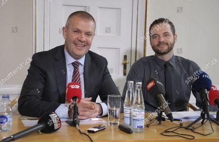 Stock Image of Bjarne Corydon, Minister of Finance and Morten Ostergaard
