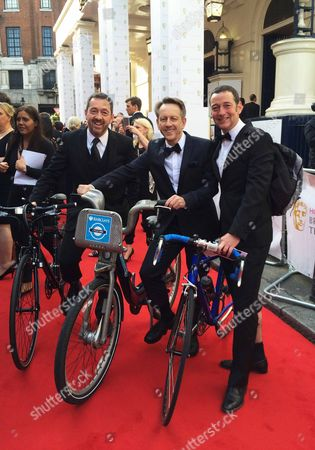 ITV's Tour De France presenters Chris Boardman Gary Imlach and Ned Boulting arriving at the BAFTA's on 'Boris Bikes'