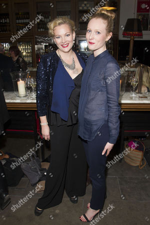 Sara Stewart (Myra Arundel) and Alice Orr-Ewing (Sorel Bliss) attend the after party on Press Night for Hay Fever at National Gallery Cafe