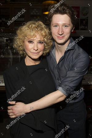 Felicity Kendal (Judith Bliss) and Jake Rudman attend the after party on Press Night for Hay Fever at National Gallery Cafe