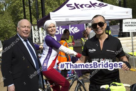 Stock Image of Lord Julian Fellowes, Lady Emma Fellowes and Julien Macdonald of the Vision Express team