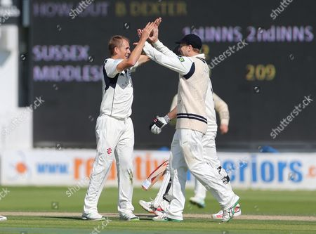 Middlesex Neil Dexter takes the wicket of Sussex Michael Yardy during the LV County Championship Div 1 match between Sussex County Cricket Club and Middlesex County Cricket Club at the BrightonandHoveJobs.com County Ground, Hove