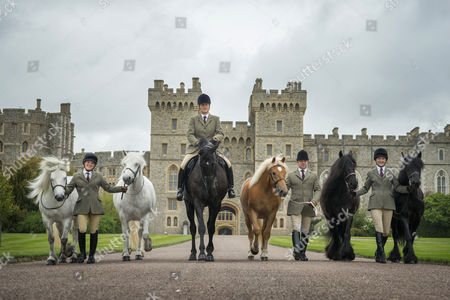Horses from left to right: Alpine, Mingulay, George (named after Her Majesty the Queen's Father), Anson, Dawn and Emma Grooms from left to right: Harriet White, Zoe McDonald, Christopher Allen and Sadie Henderson