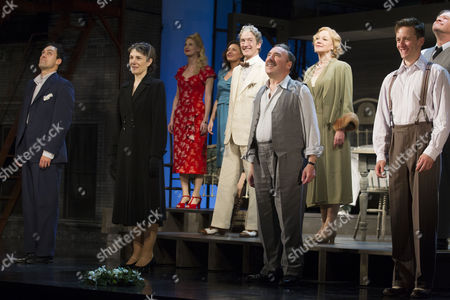 Alex Hassell (Biff Loman), Harriet Walter (Linda Loman), Antony Sher (Willy Loman) and Sam Marks (Happy Loman) during the curtain call for the curtain call of Death of a Salesman at the Noel Coward Theatre
