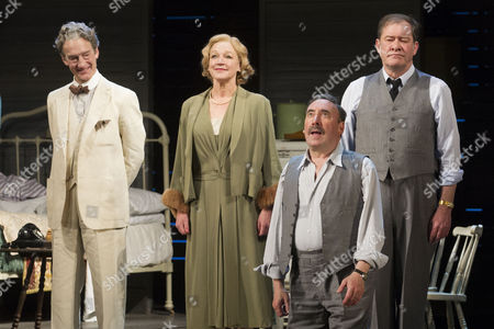 Guy Paul (Uncle Ben), Sarah Parks (The Woman), Antony Sher (Willy Loman) and Joshua Richards (Charley) during the curtain call for the curtain call of Death of a Salesman at the Noel Coward Theatre
