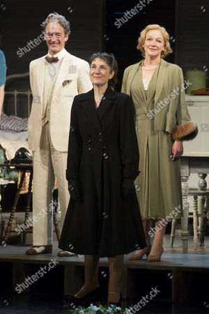 Guy Paul (Uncle Ben), Harriet Walter (Linda Loman) and Sarah Parks (The Woman) during the curtain call for the curtain call of Death of a Salesman at the Noel Coward Theatre